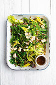 French lentil and pea salad with honey and mustard dressing