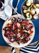 Grilled beefheart with radicchio and orange