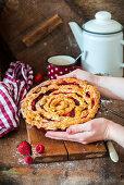 Apple pie with berries