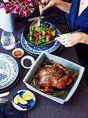 Oriental chicken with salad