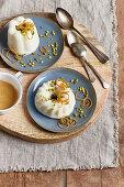 Orange pudding with pistachios