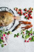 Yabby tails, Moreton Bay bug, John Dory, strawberries, turnips and radishes