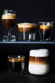 Coffee, espresso, espresso macchiato, black coffee and latte macchiato