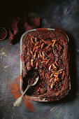 Self-Saucing brownie pudding with pecans