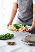 Creamy cauliflower and blue cheese pappardelle
