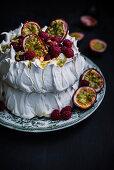 Passion Fruit Raspberry Pavlova