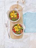 Buckwheat salad with saffron fish and cherry tomatoes