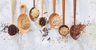 Various types of grains on wooden spoons
