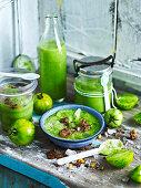 Green Gazpacho with Pistachio Croutons
