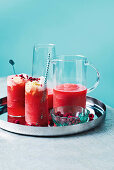 Ice cream floats made with frozen watermelon, vanilla ice cream and rosé wine