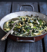 Zucchini casserole with green vegetables