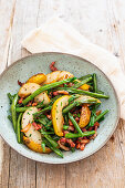Pears, green beans and bacon