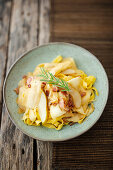 Tagliatelle with parsnips, bacon and pears