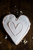 A heart-shaped biscuit with icing