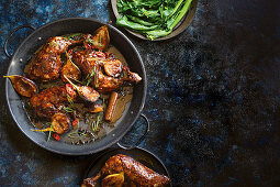Cooked chicken with sticky fig glaze