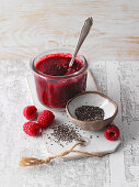 Raspberry jam with chia seeds (low carb)