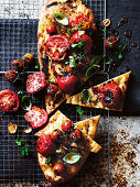 Blistered tomato and garlic Afghan bread