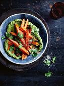 Warm salad of carrots, coriander and chilli salt