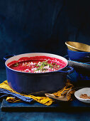 Roasted beetroot and lemon thyme soup