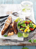 Jerk Salmon with Black Bean Salad