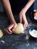 Kneeting pasta dough