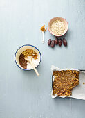 Ingredients for homemade energy bars with peanuts