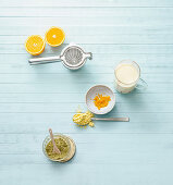 Ingredients for a protein shake with sweet lupine and orange