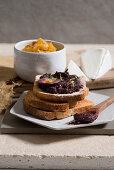 Purple carrot and lime marmalade on bread with carrot chutney