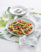 Roasted zucchini with date tomatoes