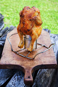 Grilled beer can chicken with honey and chili