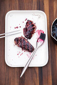 Grilled duck breast with blueberry glaze and a chestnut filling