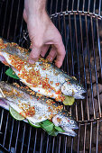 Grilled trout in oriental ginger and shallot marinade