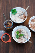 Grilled lemongrass and coconut rice pudding with caramelised pears