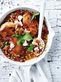 Harissa roast chicken with chickpeas and feta
