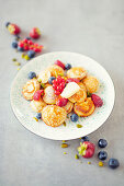 Poffertjes with fresh fruits (Netherlands)