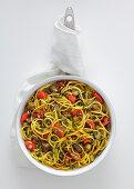 Spaghetti with aubergines and turmeric