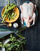 Dicke Bohnen, Ente, Salz, Kingfish und Brennesseln