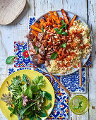 Moroccan harvest platter with roasted carrots, lamb and millet