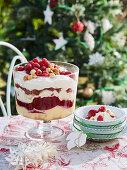 Raspberry and verjuice custard trifle with macadamias