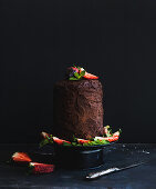Rustic chocolate high cake with strawberry