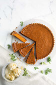 Carrot and white chocolate pie with ginger ice cream