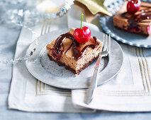 Roasted cherry and chocolate cheesecake