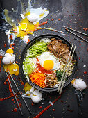 Bibimbap (a rice dish from Korea)