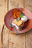 Almond cake with lemon ice cream