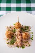 Vitello tonnato with cauliflower and giant capers