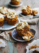 Carrot cakes with date cream cheese frosting