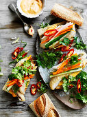 Fish banh mi with pickled vegetables and spicy mayonnaise