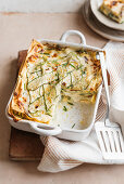 Courgette lasagne with stracchino, chives and lemon