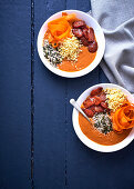 Tomato soup buddha bowl with toppings