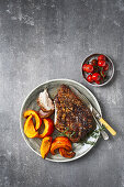 Spiced pork belly with roasted pumpkin